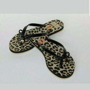 New Kate Spade Leopard Nova Bow Flip Flops Sandals